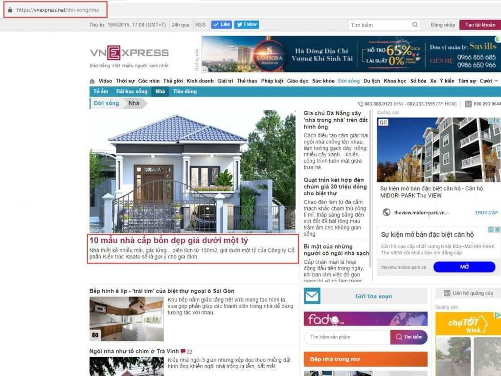 Được báo Vnexpress đăng tải những mẫu nhà đẹp của KISATO trên trang nhất chuyên mục Nhà