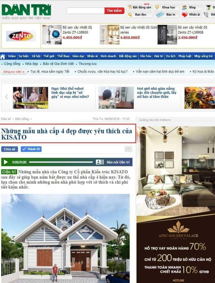 Được báo Dân Trí đăng tải những mẫu nhà đẹp của KISATO trên trang nhất chuyên mục Đời Sống. Link báo
