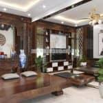 Mẫu Nội Thất Phòng Khách Kết Hợp Phòng Thờ Đẹp Tại Hưng Yên