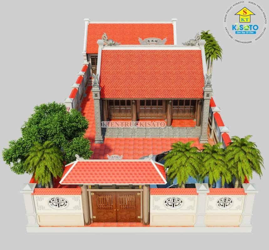 Phối cảnh 3D nhà thờ họ tại Hải Dương 3 gian 2 mái