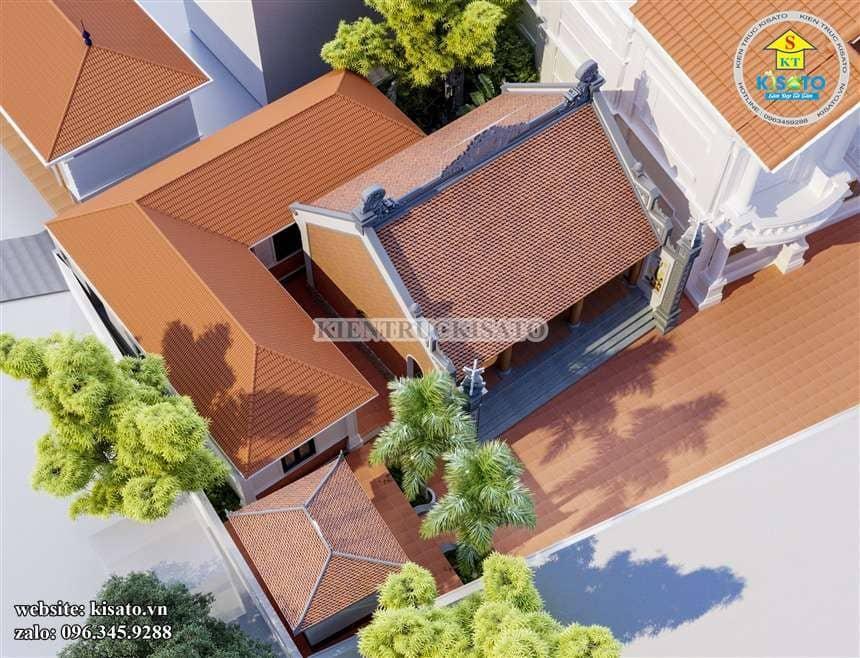 Phối cảnh tổng thể mẫu nhà thờ họ đẹp ở Hải Phòng