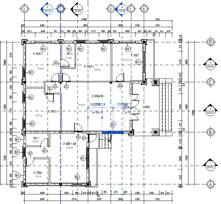 thiết kế nhà cấp 4 chữ L 3 phòng ngủ