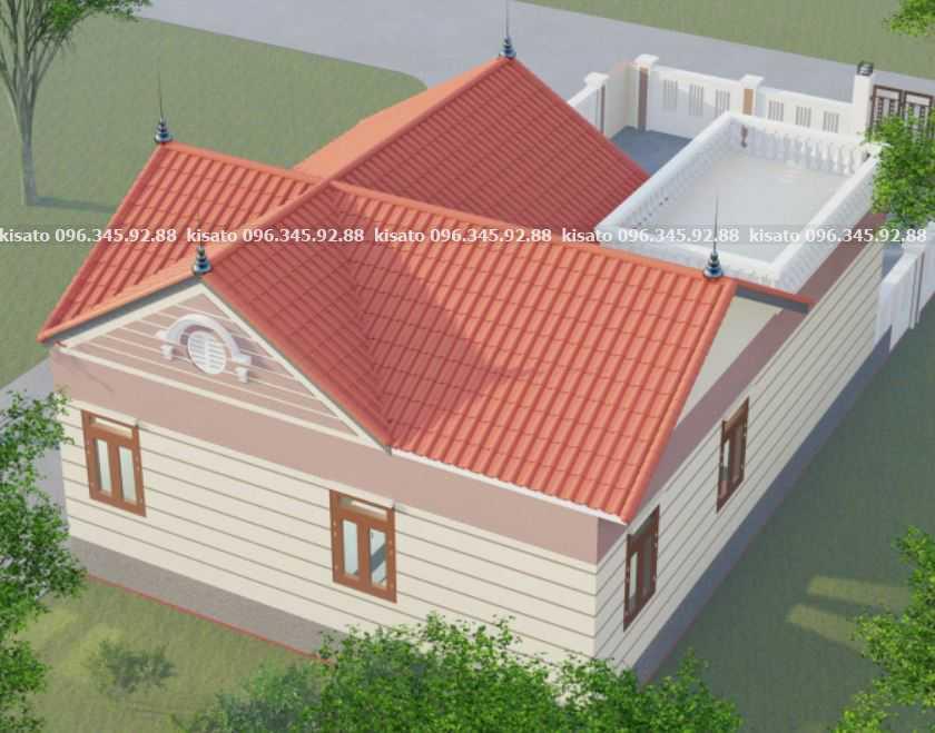 Mẫu thiết kế nhà cấp 4 chữ L 2 phòng ngủ