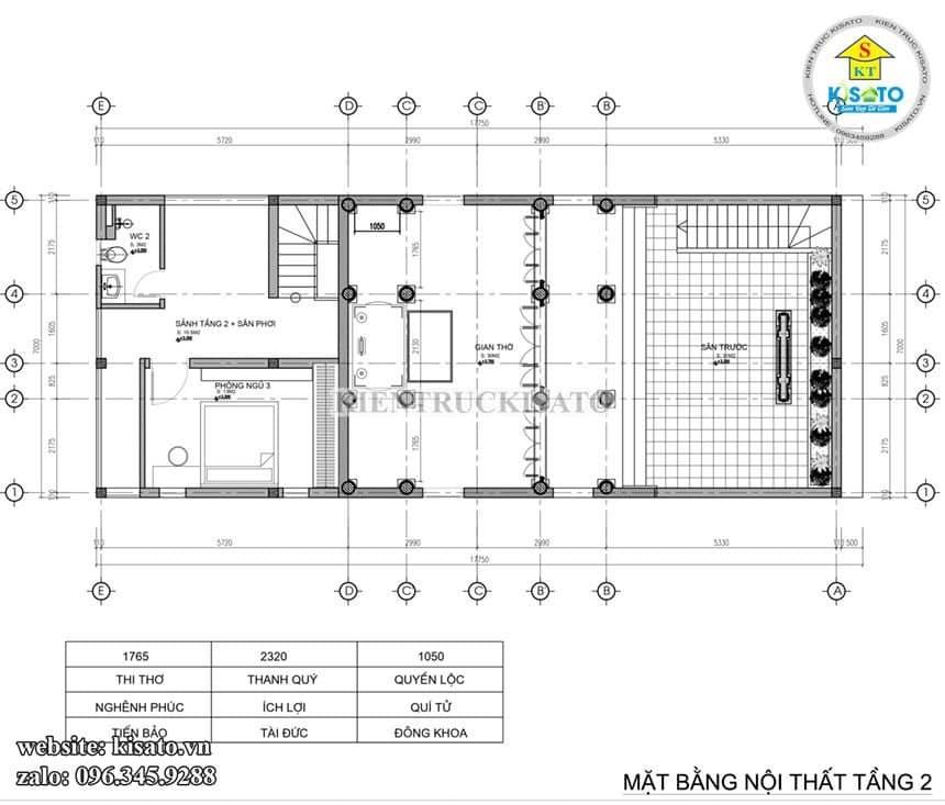 Bản vẽ mặt bằng tầng 2 mẫu từ đường kết hợp nhà ở