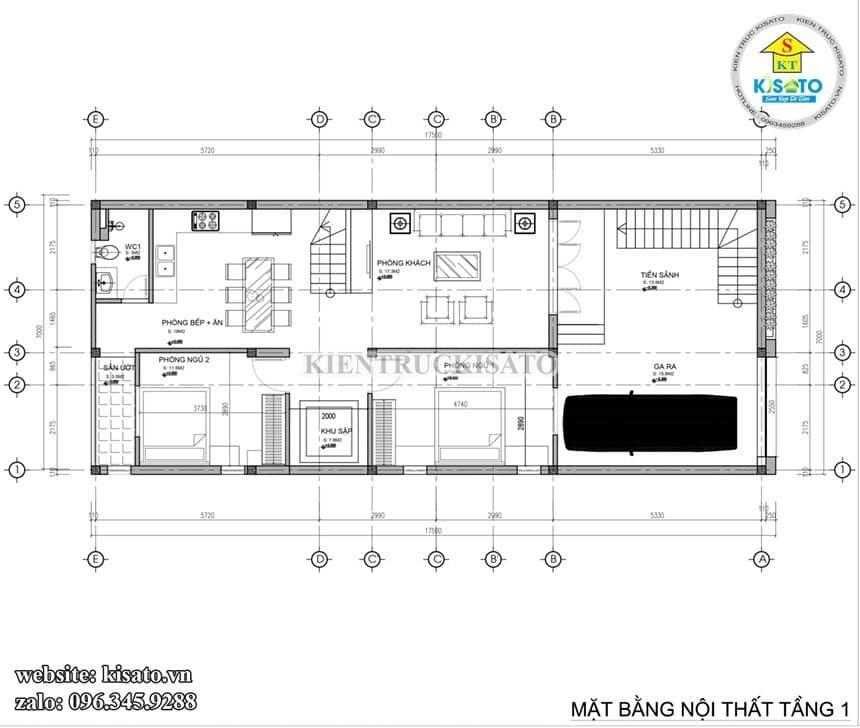Bản vẽ mặt bằng tầng 1 mẫu từ đường kết hợp nhà ở