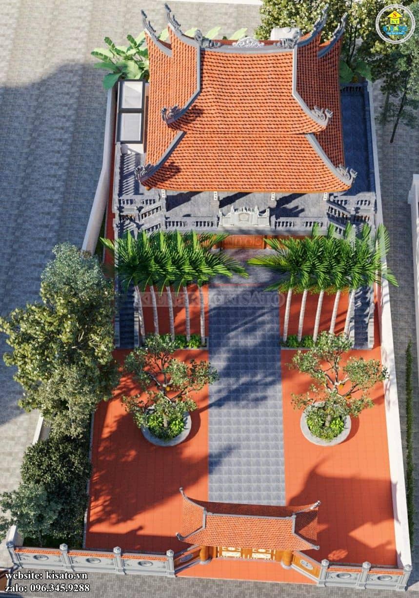 Tổng thể kiếm trúc mẫu từ đường, nhà thờ họ 2 tầng 8 mái