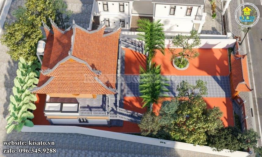 Khung cảnh của mẫu từ đường, nhà thờ họ 2 tầng 8 mái