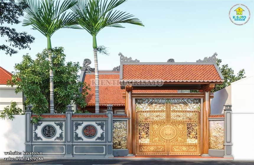 Một mẫu cửa cổng nhà thờ họ bằng kim loại