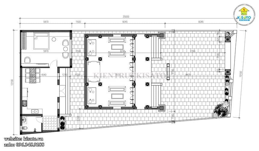 Bản vẽ mặt bằng tổng thể công trình từ đường kết hợp nhà ngang