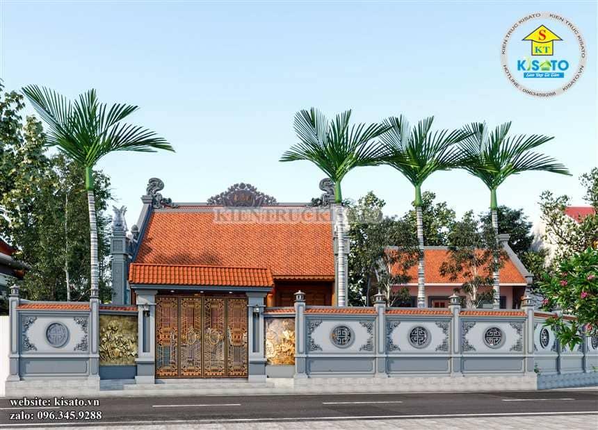 Cổng cùng tường bao mẫu thiết kế từ đường kết hợp nhà ngang