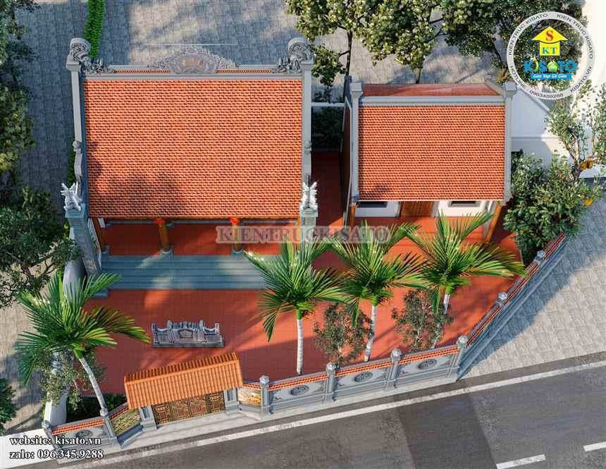Phối cảnh mẫu thiết kế từ đường, nhà thờ họ 1 tầng đẹp