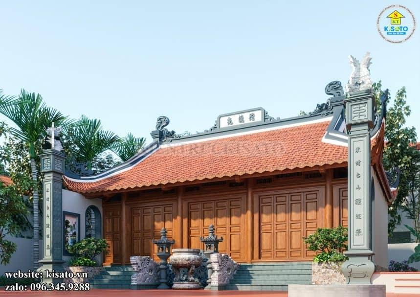 Phối cảnh chếch trái từ đường nhà thờ họ tại Long Biên